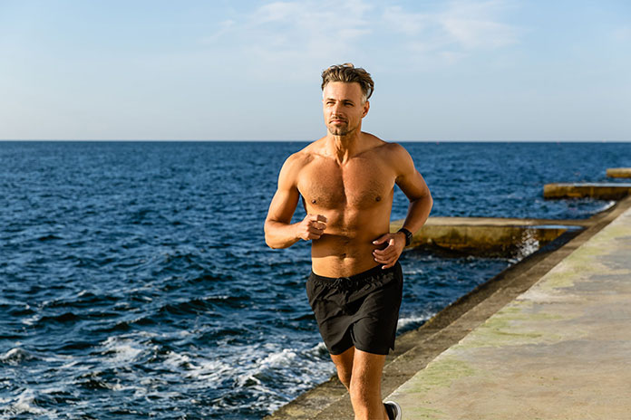 Middle age man running